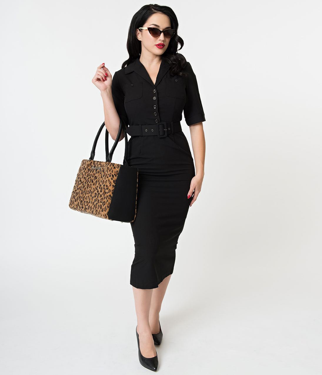 Wiggle Dresses | Pencil Dresses 40s, 50s, 60s Collectif 1950S Style Black Half Sleeve Zoe Midi Pencil Dress $78.00 AT vintagedancer.com