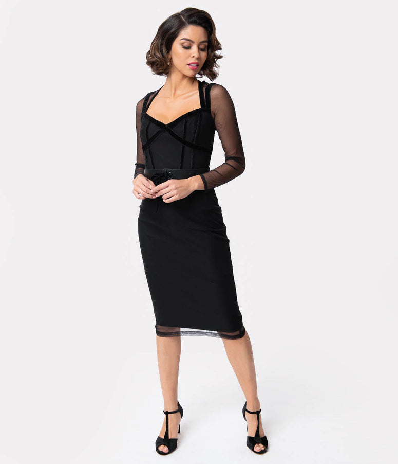 Collectif 1950s Style Black Stretch & Mesh Sierra Pencil Dress