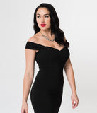 Collectif 1940s Style Black Off Shoulder Fishtail Valentina Fitted Dress
