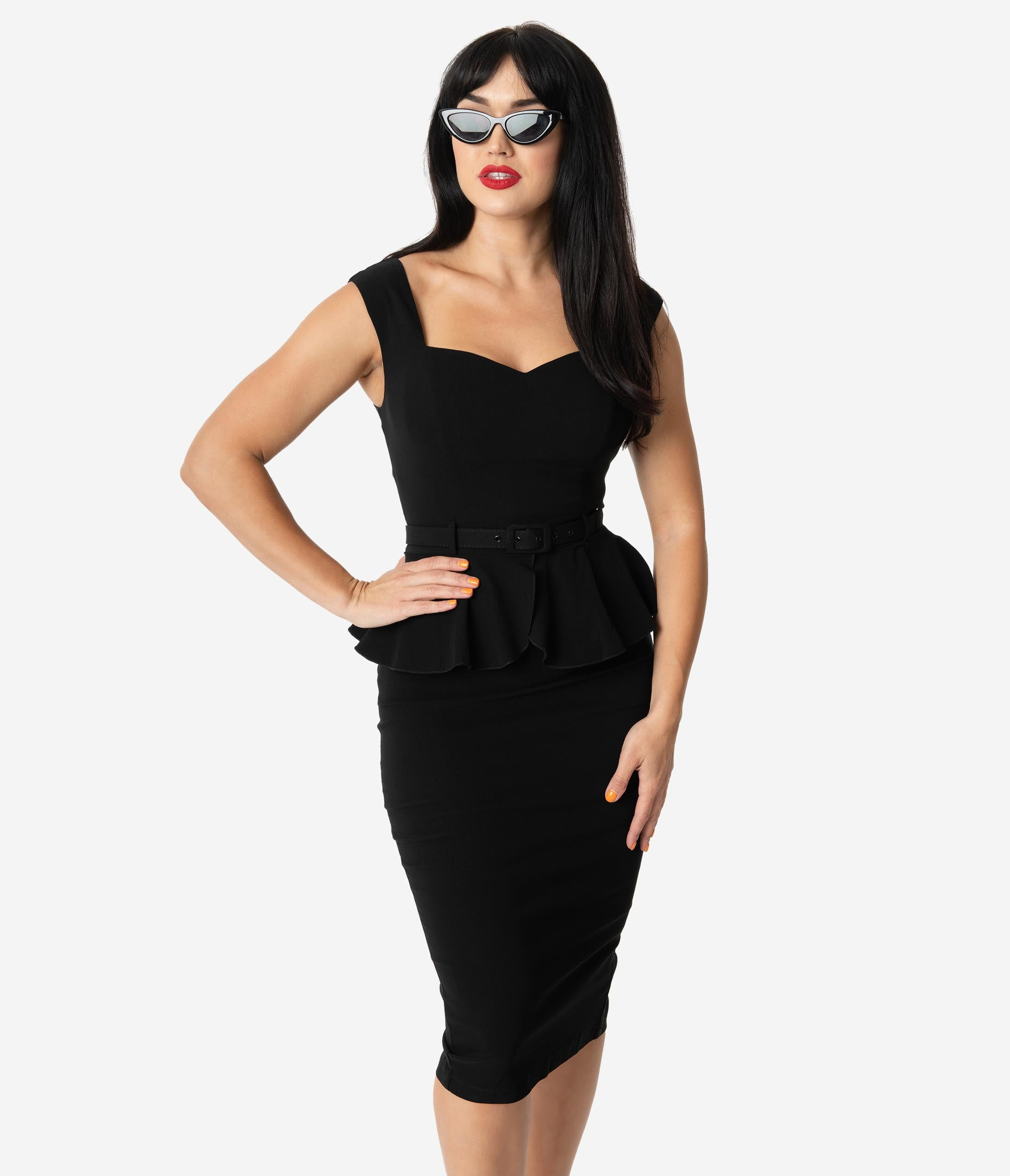 Rockabilly Dresses | Rockabilly Clothing | Viva Las Vegas Collectif 1950S Style Black Stretch Peplum Mae Pencil Dress $68.00 AT vintagedancer.com