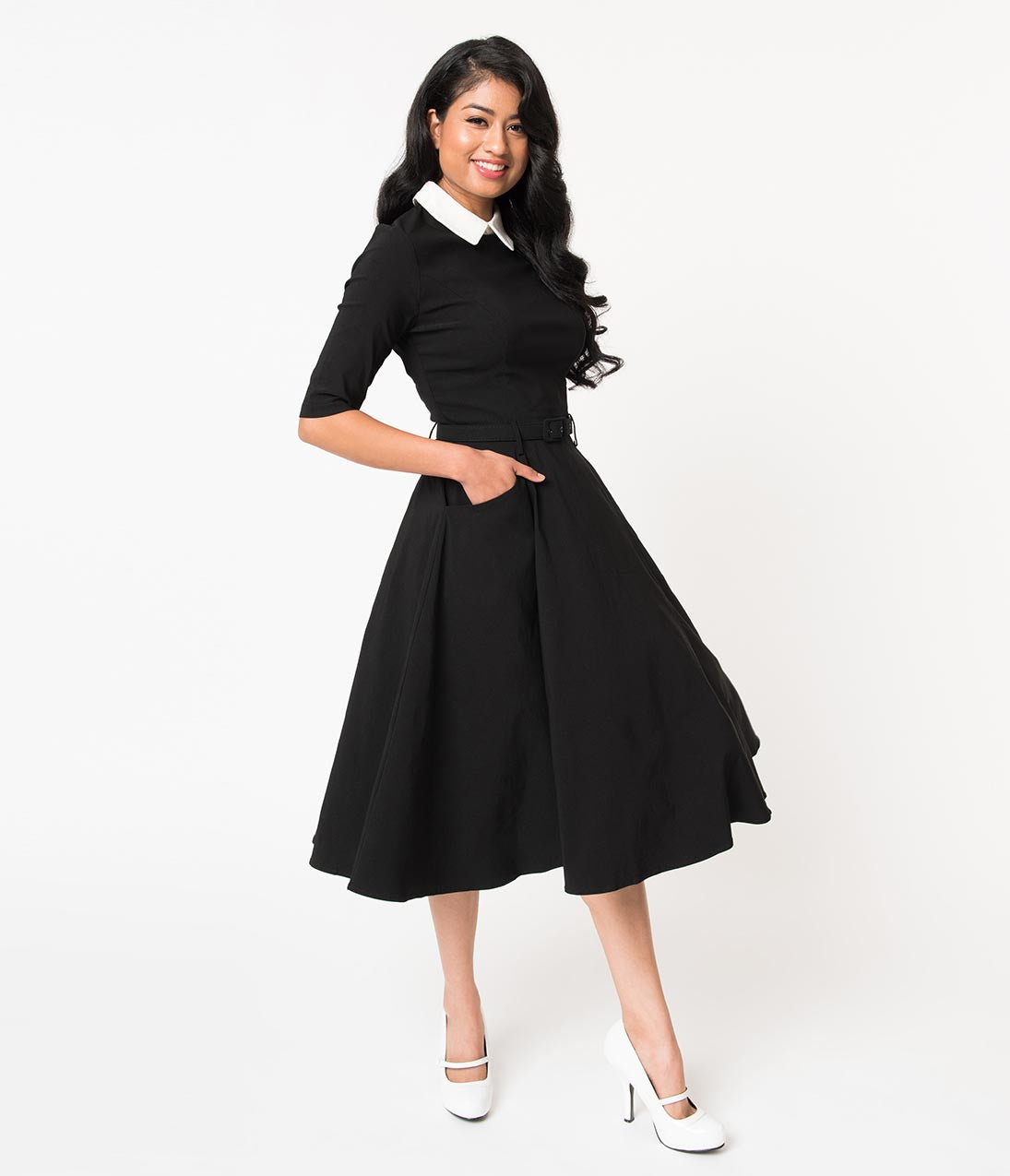 What Did Women Wear in the 1950s? 1950s Fashion Guide Collectif Black Stretch  Ivory Collar Winona Swing Dress $68.00 AT vintagedancer.com