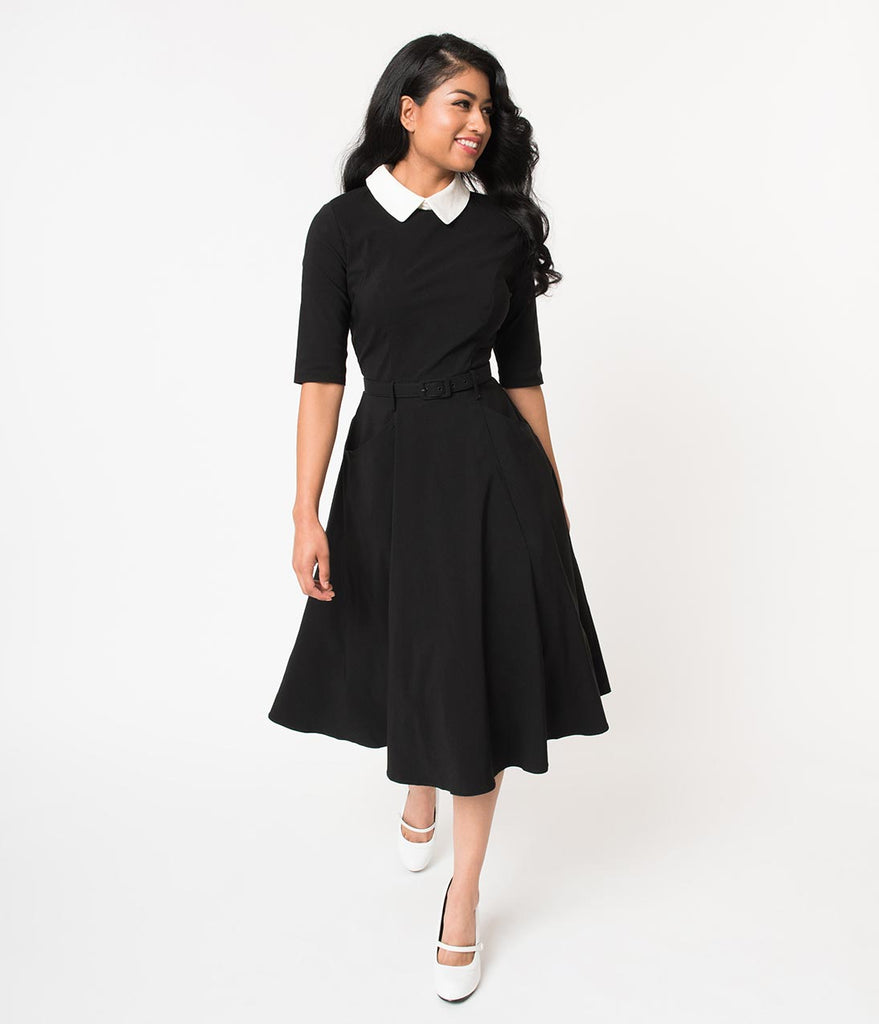 Collectif Black Stretch & Ivory Collar Winona Swing Dress