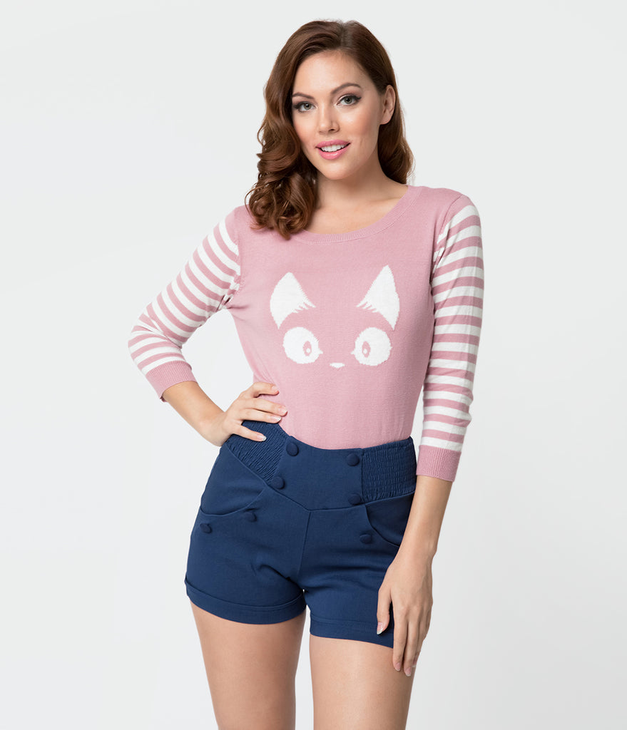 Mauve Pink and White Stripe Three Quarter Knit Kitty Sweater