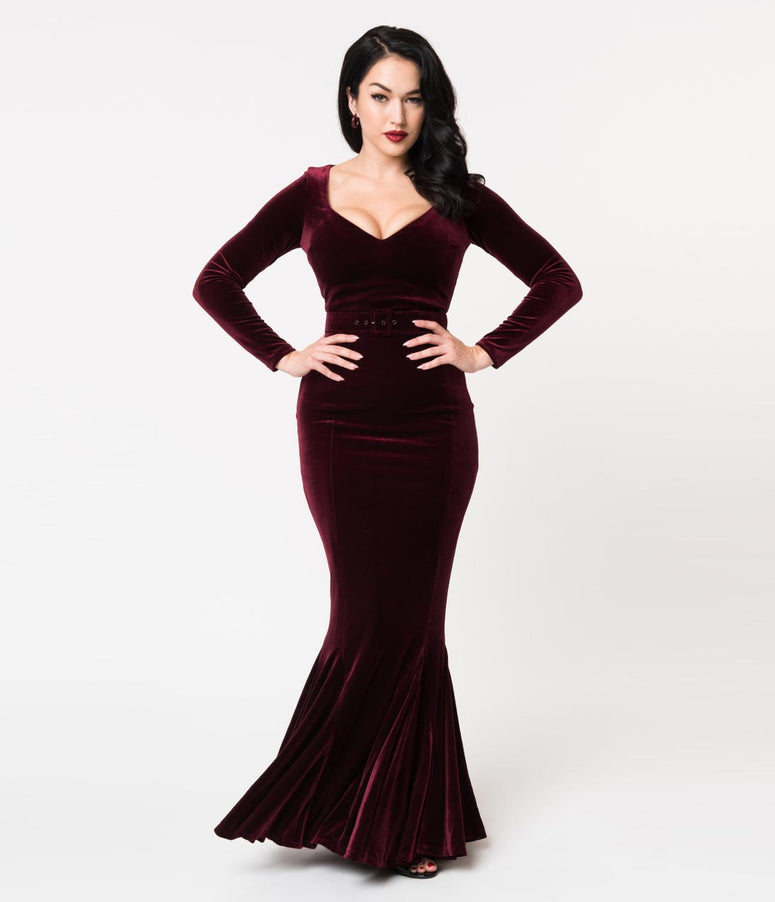 La Femme En Noir Oxblood Red Velvet Long Sleeve Mermaid Marilyn Gown