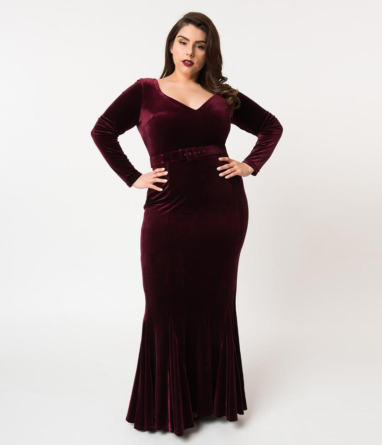 La Femme En Noir Plus Size Oxblood Red Velvet Long Sleeve Mermaid Marilyn Gown