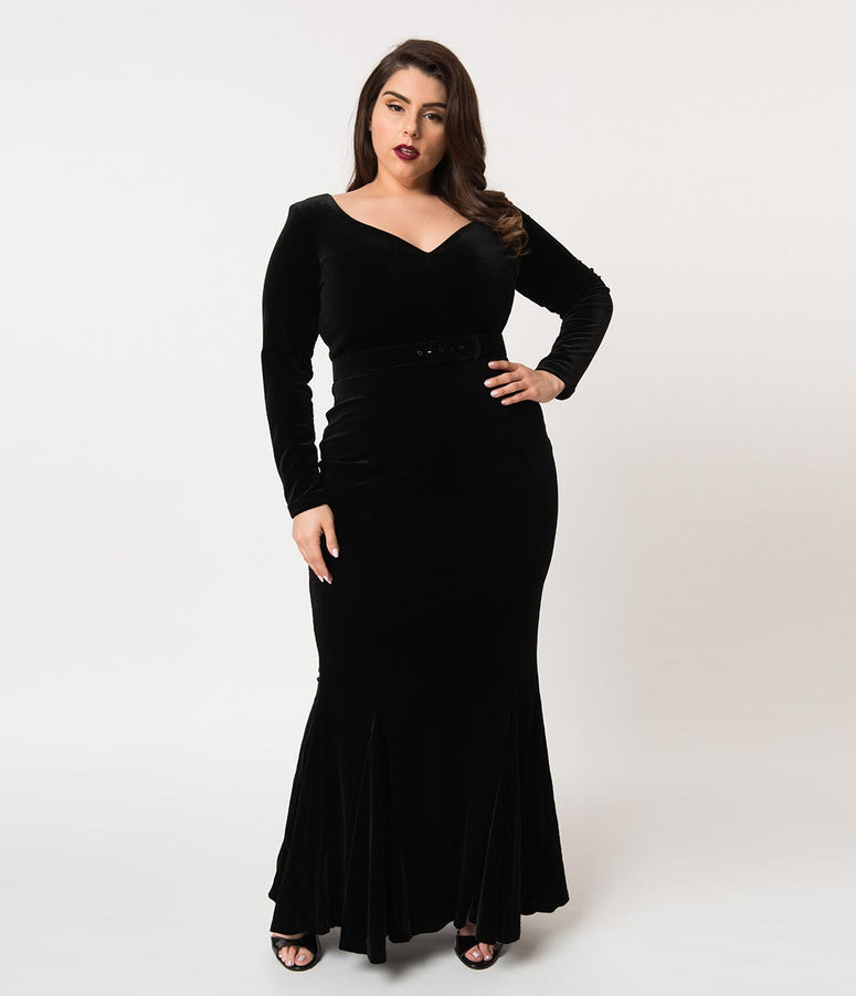 La Femme En Noir Plus Size Black Velvet Long Sleeve Mermaid Marilyn Gown