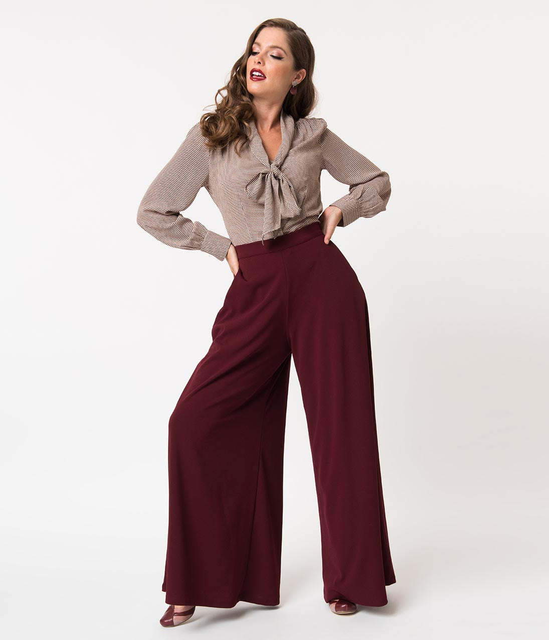 1940s Swing Pants & Sailor Trousers- Wide Leg, High Waist La Femme En Noir Oxblood Red Widow High Waisted Wide Leg Palazzo Pants $122.00 AT vintagedancer.com