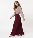 La Femme En Noir Oxblood Red Widow High Waisted Wide Leg Palazzo Pants