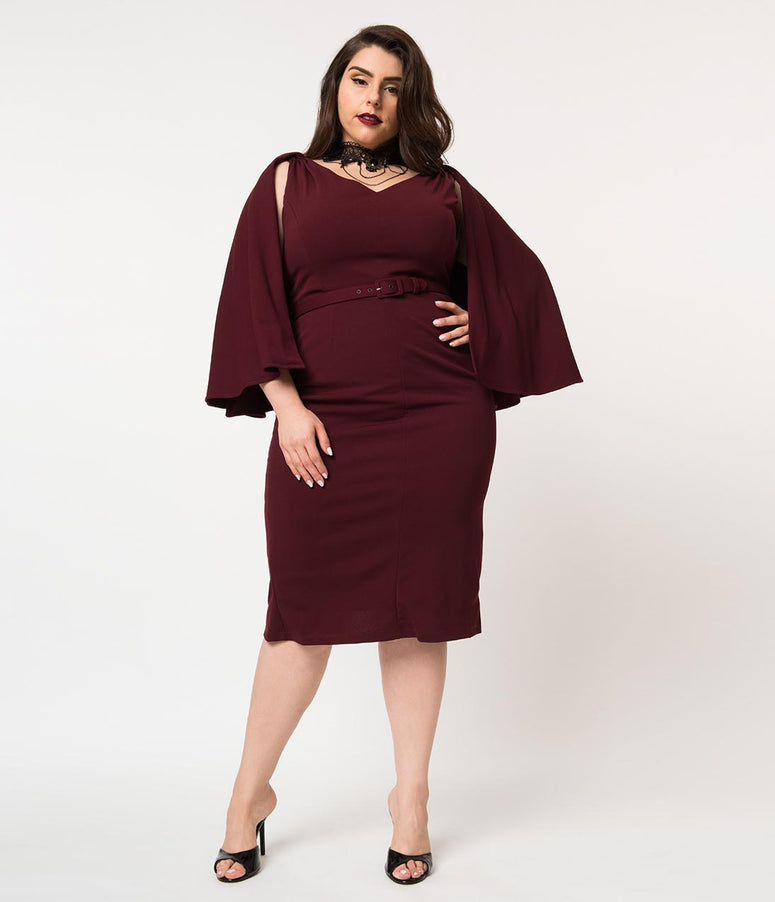 La Femme En Noir Plus Size Oxblood Red Crepe Drusilla Wiggle Dress & Cape