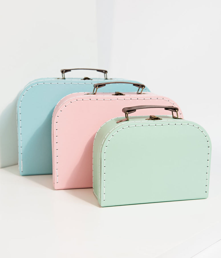 Pastel Paper Retro Suitcase Set