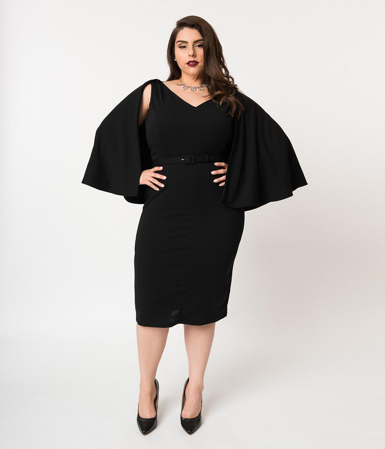 La Femme En Noir Plus Size Black Crepe Drusilla Wiggle Dress & Cape