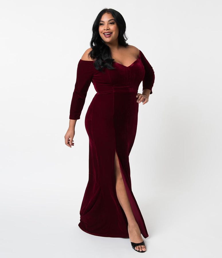 ca7a11e1c98 Collectif Plus Size Wine Red Velvet Off Shoulder Sleeved Anjelica Maxi Dress