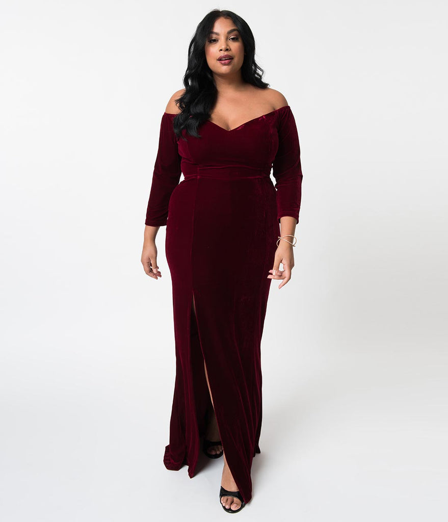 ebd8e0c540e ... Collectif Plus Size Wine Red Velvet Off Shoulder Sleeved Anjelica Maxi  Dress ...