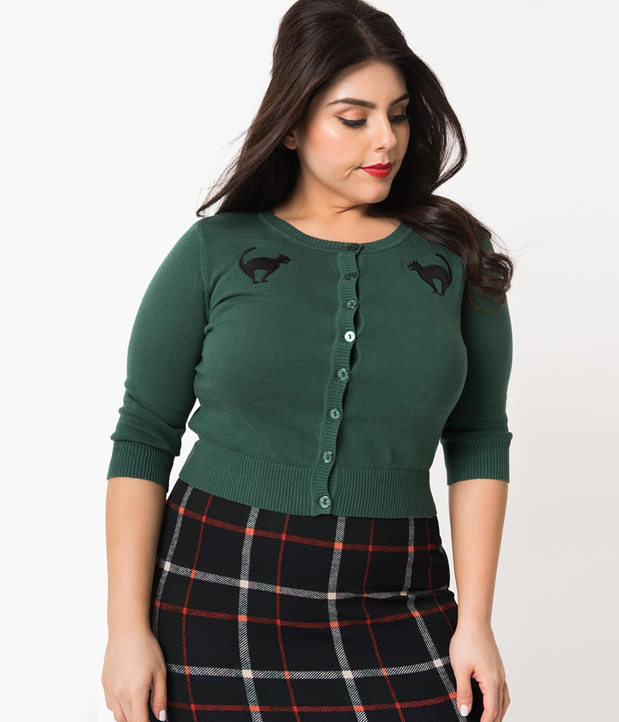 Collectif Plus Size Emerald Cotton Knit Scaredy Cat Lucy Cardigan