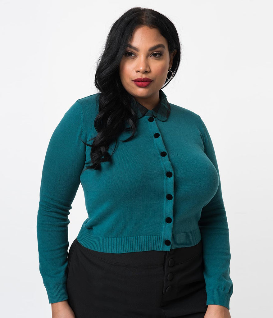 Collectif Plus Size 1950s Pine Green Slither Plaid Cotton Long Sleeve Millicent Cardigan