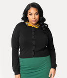 Collectif Plus Size 1950s Black Clueless Plaid Cotton Long Sleeve Millicent Cardigan