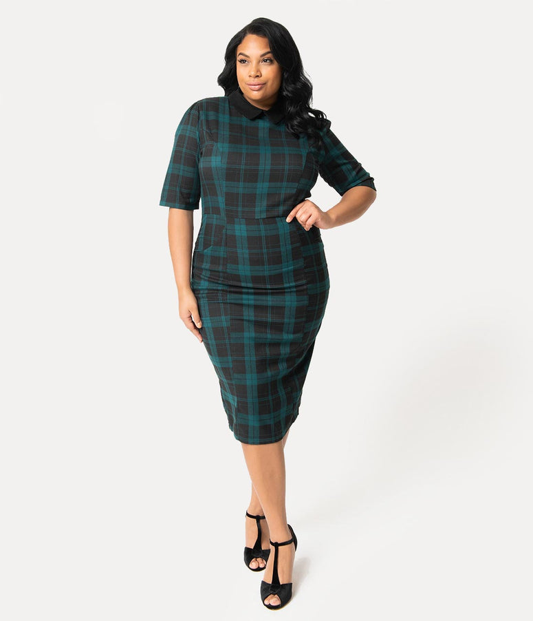 Collectif Plus Size Black & Green Slither Plaid Black Collar Winona Wiggle Dress