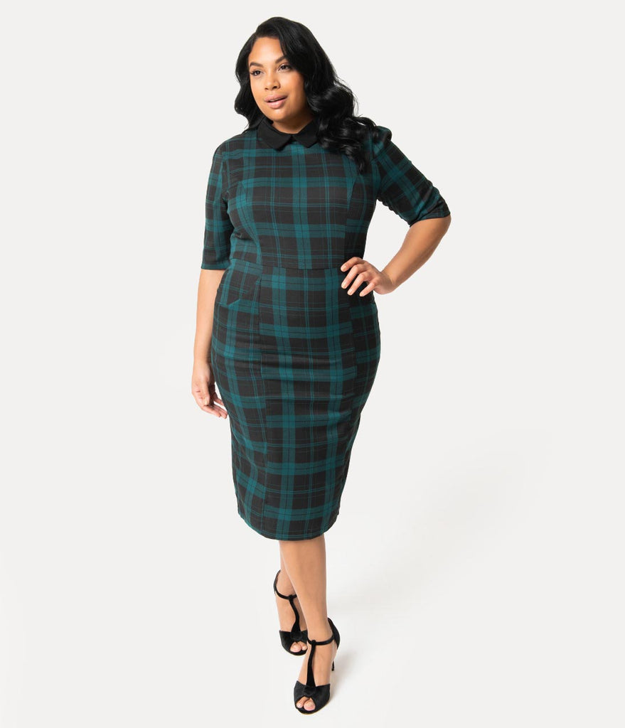 0f6534c193c1 ... Collectif Plus Size Black & Green Slither Plaid Black Collar Winona  Wiggle Dress ...