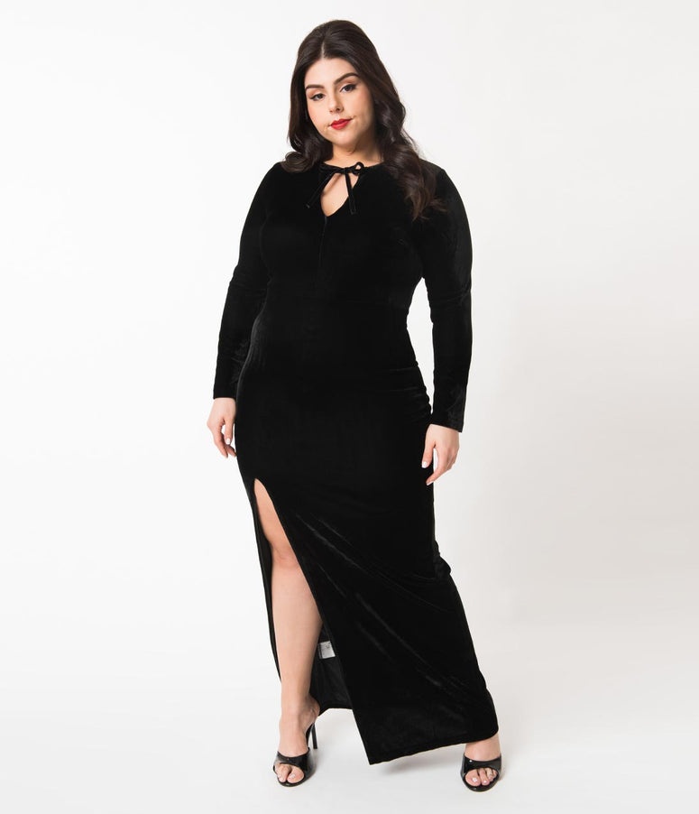 bff06238e7a Collectif Plus Size Black Velvet Long Sleeve Billa Maxi Dress