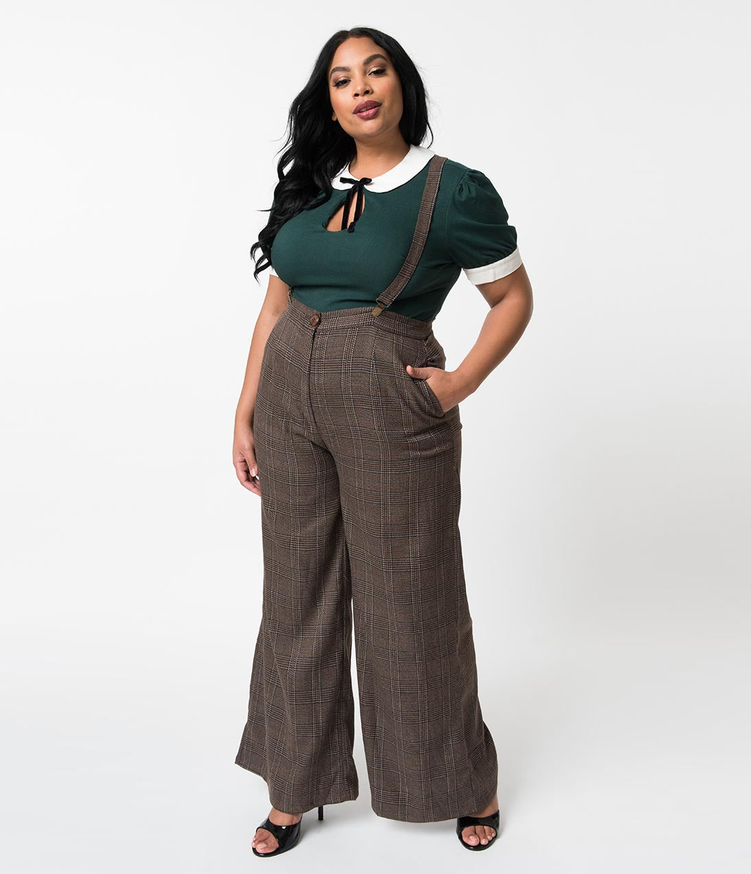 1920s Skirts, Gatsby Skirts, Vintage Pleated Skirts Collectif Plus Size 1940S Style Brown Librarian Check High Waist Glinda Suspender Pants $58.00 AT vintagedancer.com