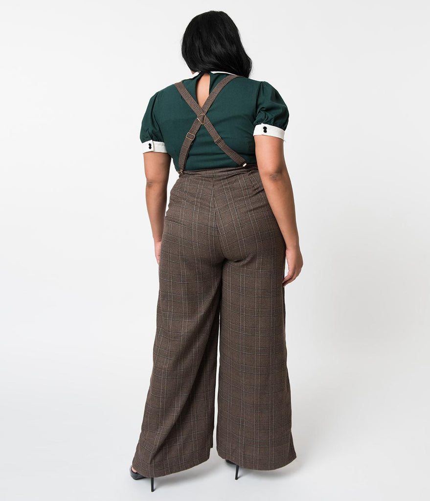 Collectif Plus Size 1940s Style Brown Librarian Check High Waist Glinda Suspender Pants