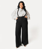 Collectif Plus Size 1940s Style Black High Waist Glinda Suspender Pants