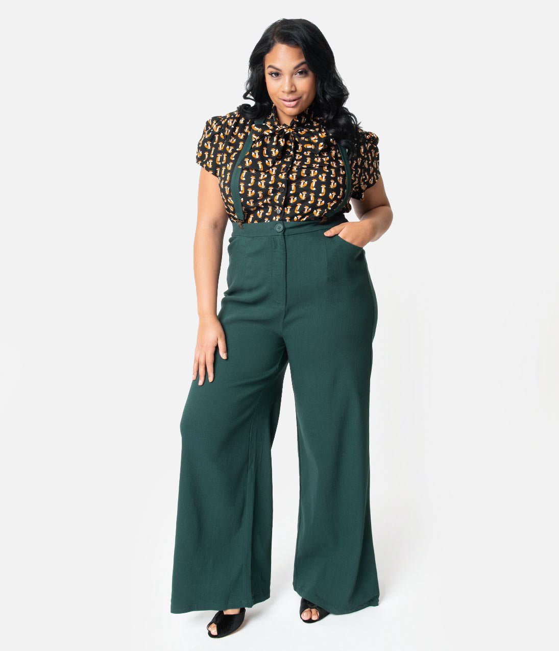 1940s Clothing Collectif Plus Size 1940S Style Emerald Green High Waist Glinda Suspender Pants $58.00 AT vintagedancer.com