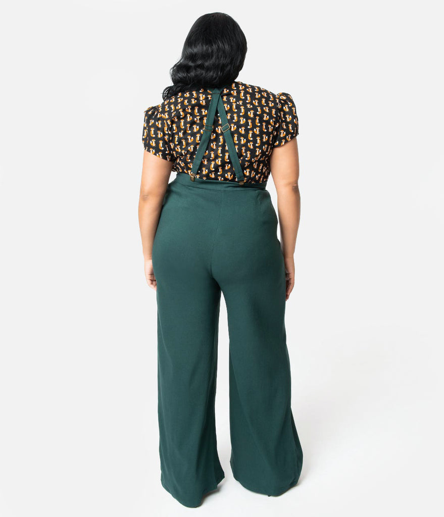 Collectif Plus Size 1940s Style Emerald Green High Waist Glinda Suspender Pants