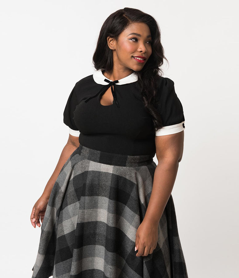 Collectif Plus Size 1940s Style Black Keyhole Short Sleeve Khloe Top