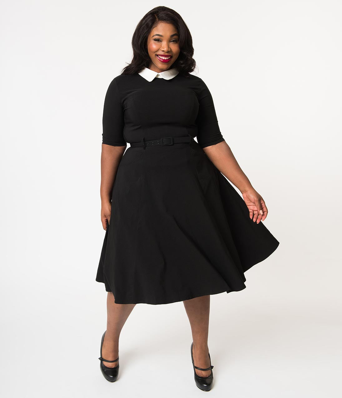 60s 70s Plus Size Dresses, Clothing, Costumes Collectif Plus Size Black Stretch  Ivory Collar Winona Swing Dress $68.00 AT vintagedancer.com