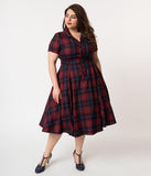 Collectif Plus Size 1950s Navy & Burgundy Ginsburg Check Plaid Caterina Swing Dress
