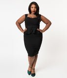Collectif Plus Size 1950s Style Black Stretch Peplum Mae Pencil Dress