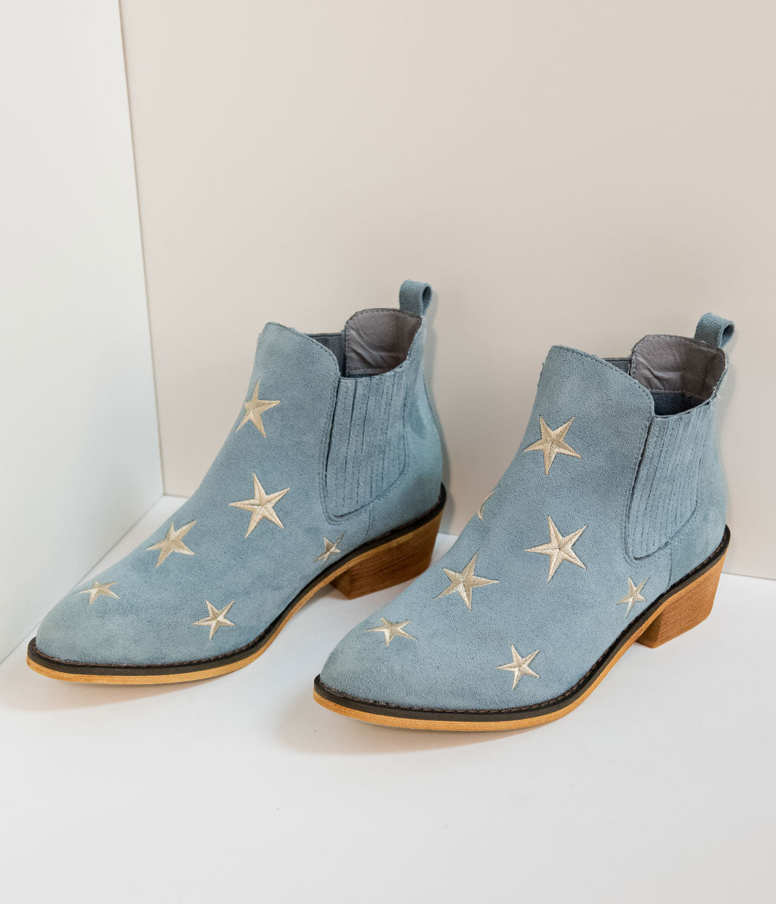Retro Boots, Granny Boots, 70s Boots Light Blue Suede  Silver Embroidered Stars Ankle Booties $48.00 AT vintagedancer.com