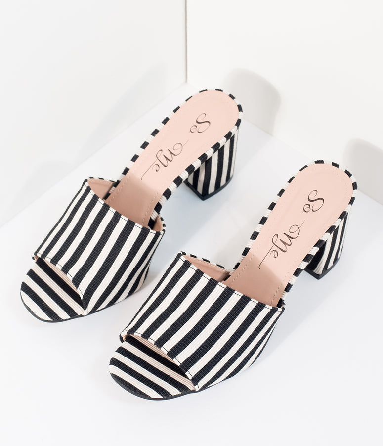 Black & White Stripe Woven Peep Toe Mule Heels
