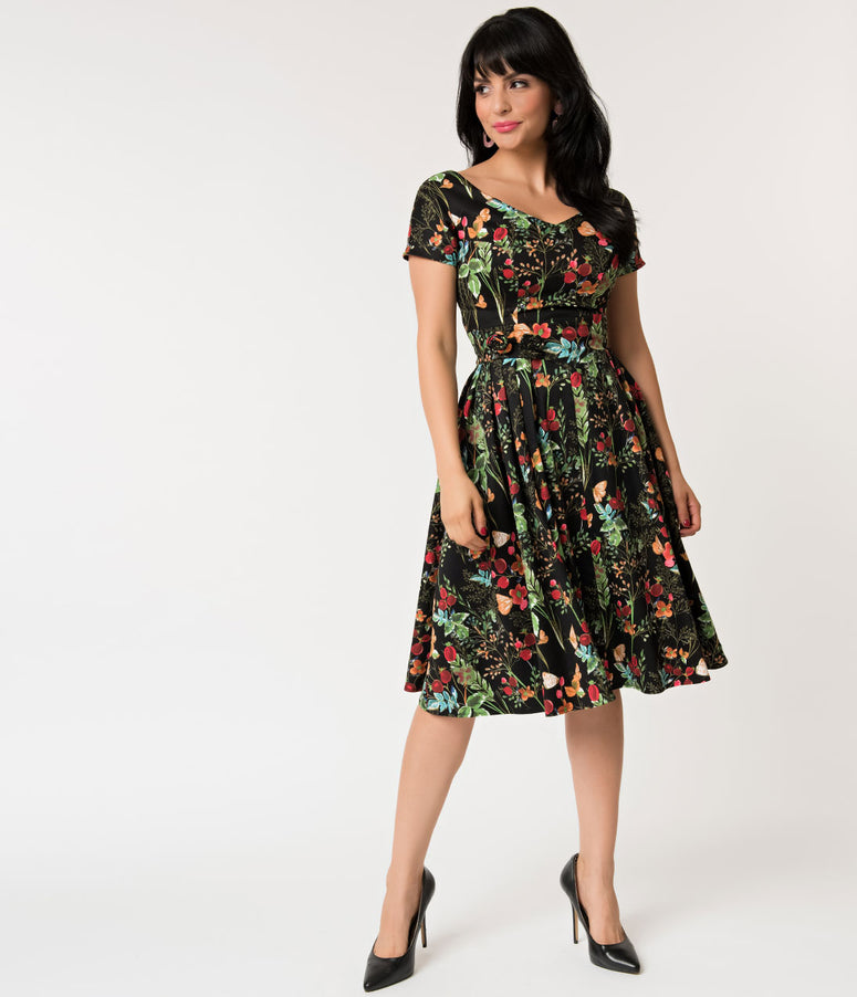 Unique Vintage 1950s Black & Multicolor Vintage Wildflower Print Olivia Swing Dress