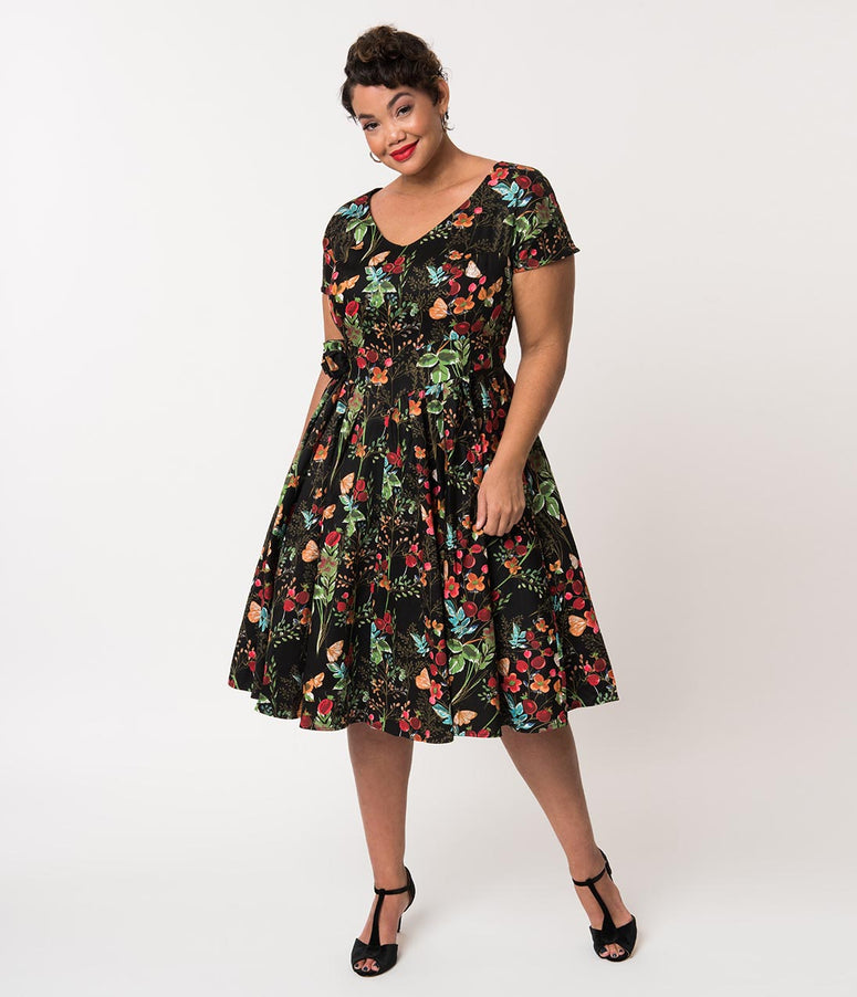 Unique Vintage Plus Size 1950s Black & Multicolor Vintage Wildflower Print Olivia Swing Dress