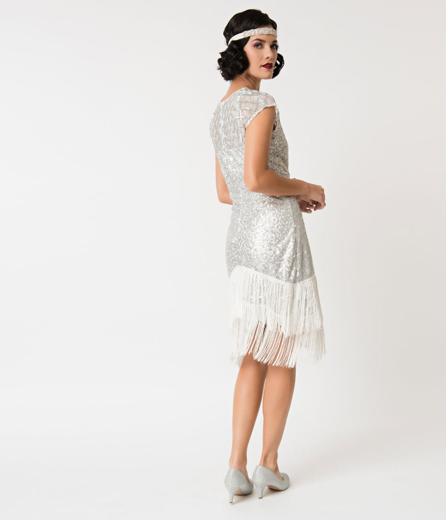 Unique Vintage 1920s Antique Silver Sequin Fringe Del Mar Flapper Dress