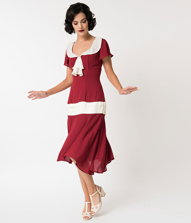Unique Vintage 1920s Burgundy & Cream Wilshire Flapper Day Dress