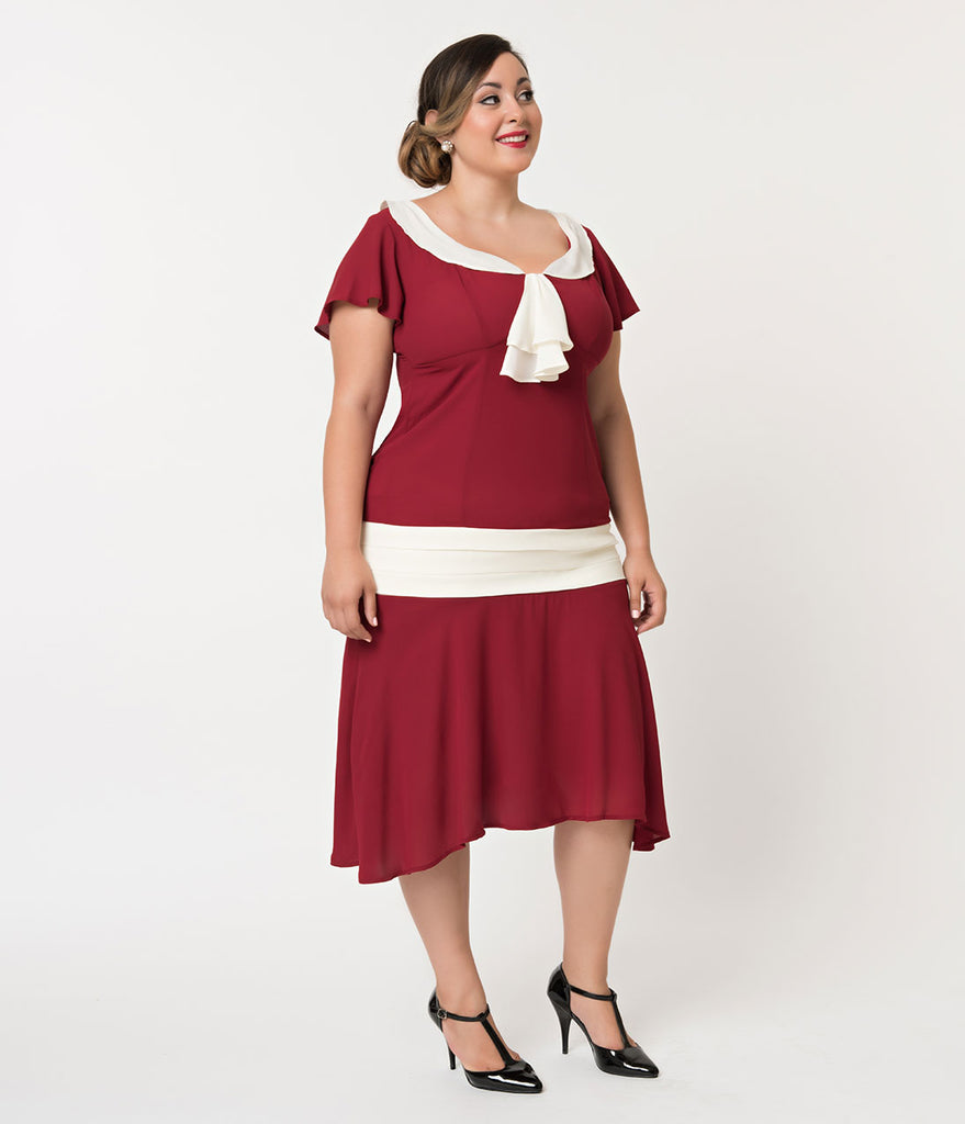 Unique Vintage Plus Size 1920s Burgundy & Cream Wilshire Flapper Day Dress