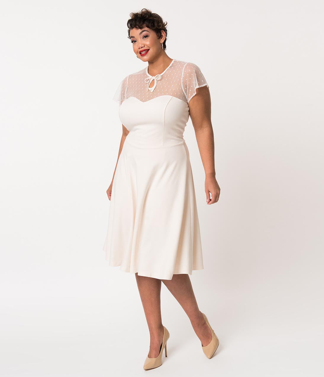 1940s Plus Size Fashion: Style Advice from 1940s to Today Unique Vintage Plus Size 1940S Style Ivory Swiss Dotted Mesh Heather Midi Dress $98.00 AT vintagedancer.com