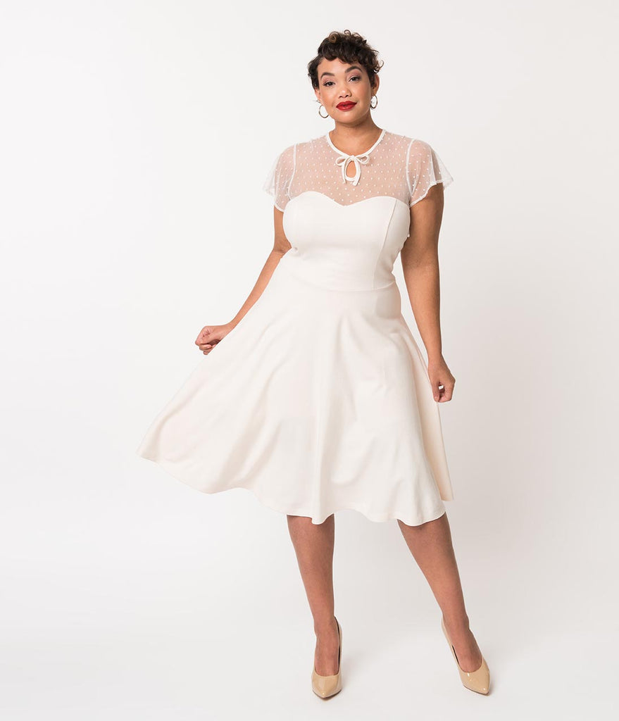 Daily Deal! Unique Vintage Plus Size 1940s Style Ivory Swiss Dotted Mesh  Heather Midi Dress