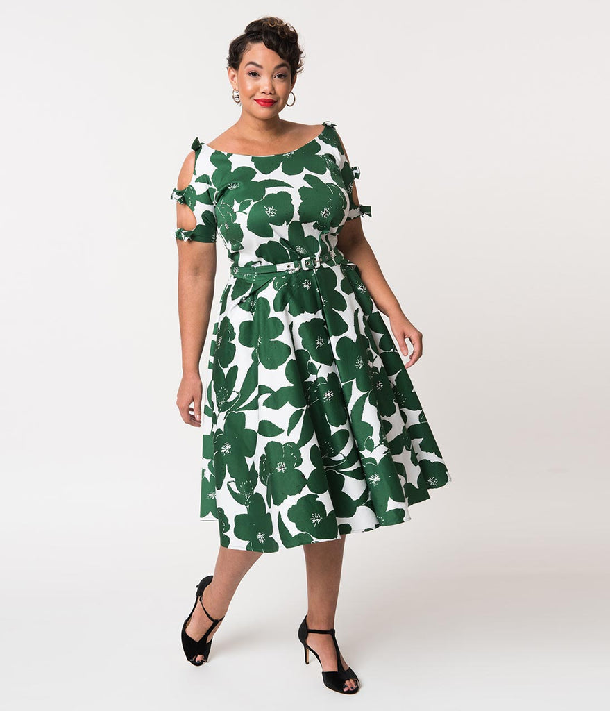 Unique Vintage Plus Size 1950s White & Green Floral Bow Sleeve Selma Swing  Dress