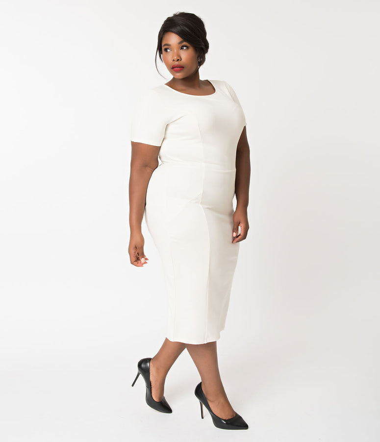 Unique Vintage Plus Size 1960s Ivory Short Sleeve Stretch Mod Wiggle Dress