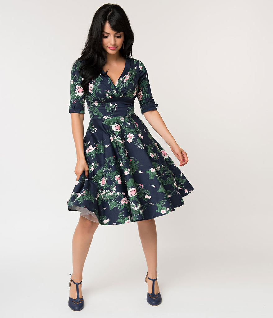 Unique Vintage 1950s Navy & Pink Floral Print Delores Swing Dress with Sleeves