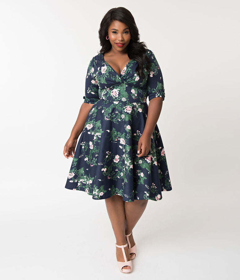 Unique Vintage Plus Size 1950s Navy & Pink Floral Print Delores Swing Dress with Sleeves