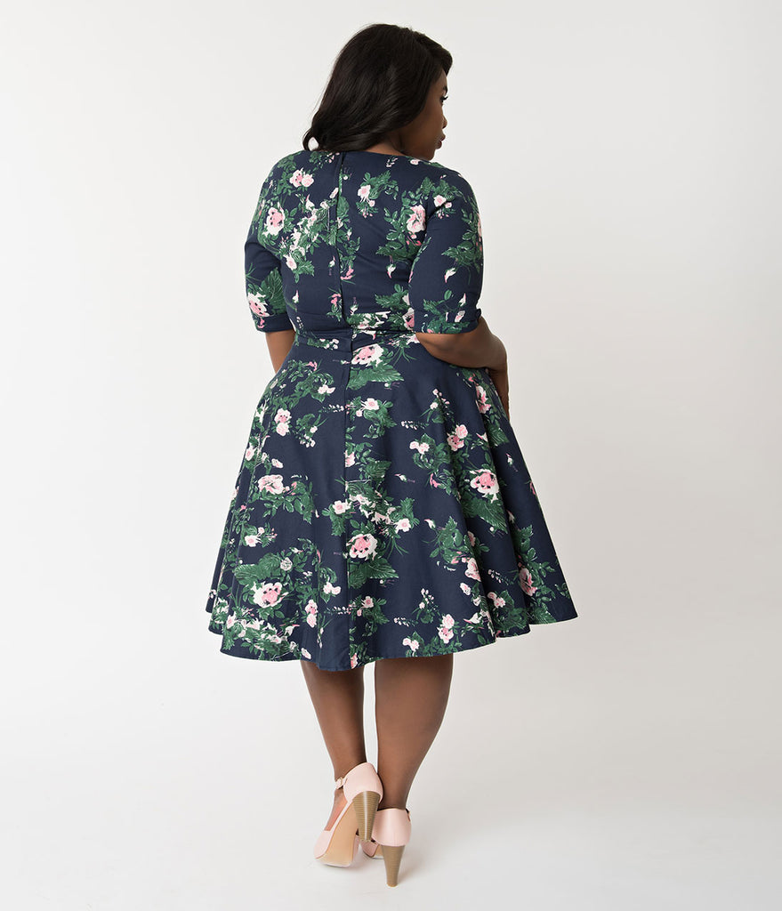ec533b53e7 ... Unique Vintage Plus Size 1950s Navy & Pink Floral Print Delores Swing  Dress with Sleeves ...