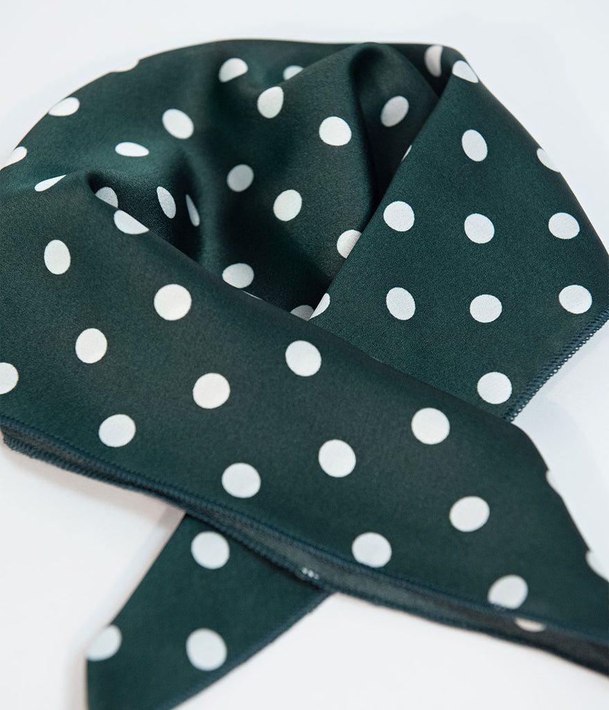 24d5bb2fb92e Emerald Green & White Polka Dot Satin Hair Scarf – Unique Vintage