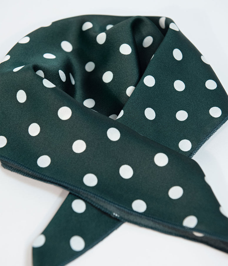 Emerald Green & White Polka Dot Satin Hair Scarf