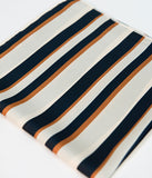 Cream & Navy Striped Satin Hair Scarf