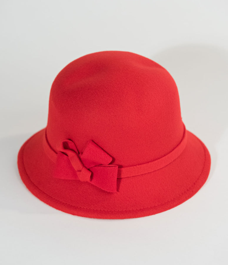 Vintage Style Red Felt Cloche Hat